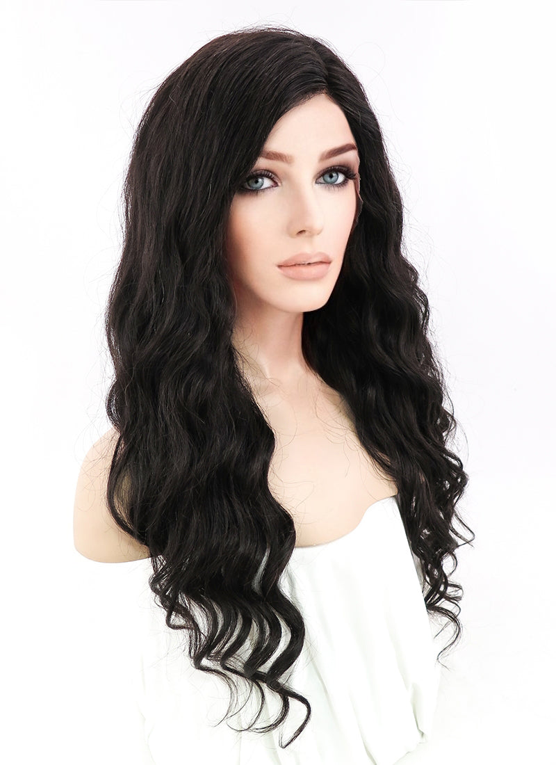 "20"" Long Curly Off Black Lace Front Remy Natural Hair Wig HH028"