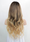 "22"" Long Wavy Blonde Brown With Brown Roots Lace Front Virgin Natural Hair Wig HG035"