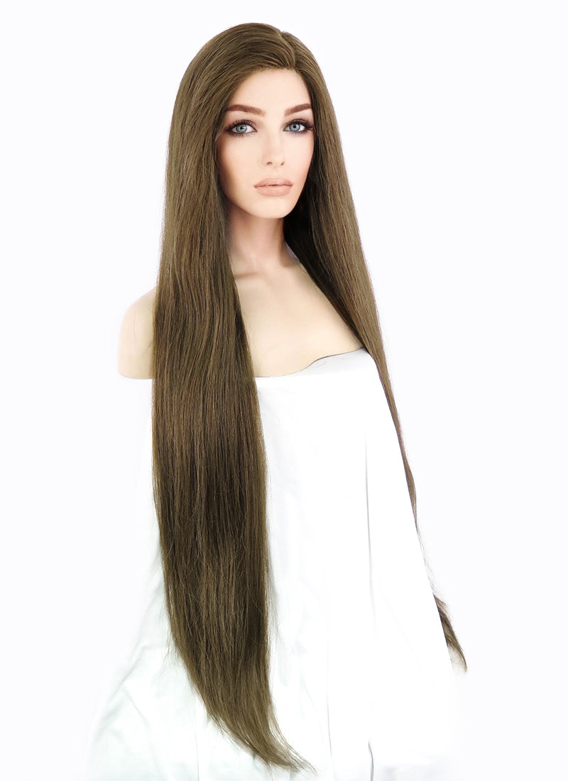 "26"" Long Straight Chocolate Brown Lace Front Remy Natural Hair Wig HH037"