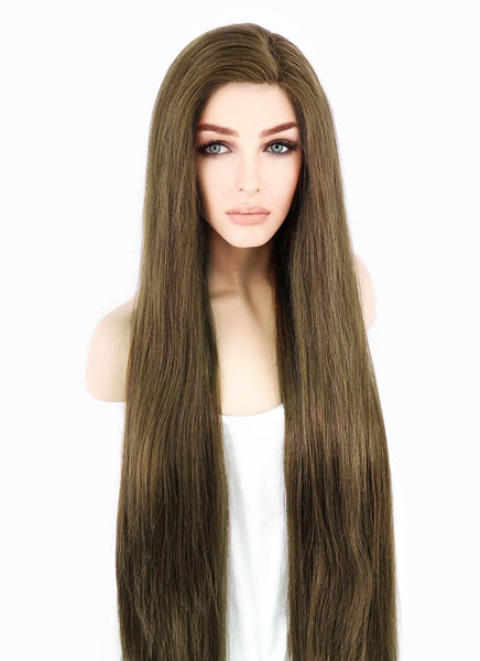 "26"" Long Straight Chestnut Brown Lace Front Virgin Human Hair Wig HH037 (FREE SHIPPING) - wifhair"
