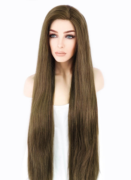 "28"" Long Straight Chestnut Brown Lace Front Virgin Human Hair Wig HH037"