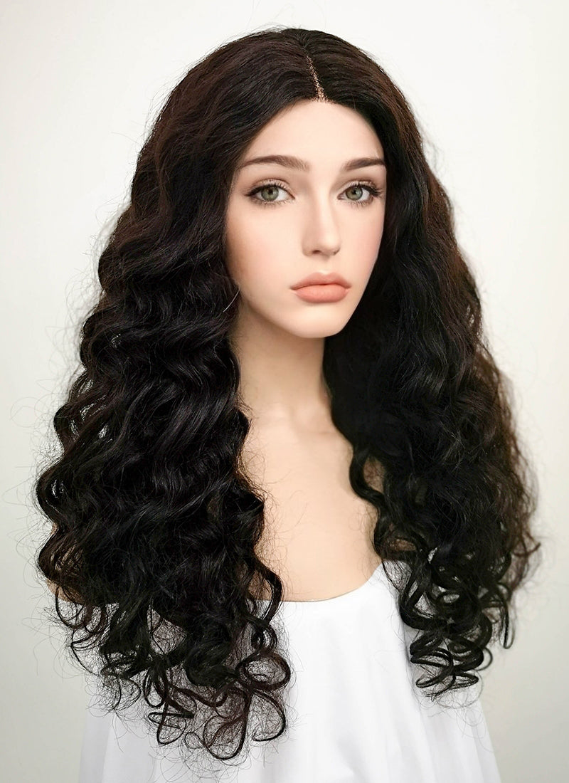 "20"" Long Curly Off Black Lace Front Remy Natural Hair Wig HH043 - wifhair"