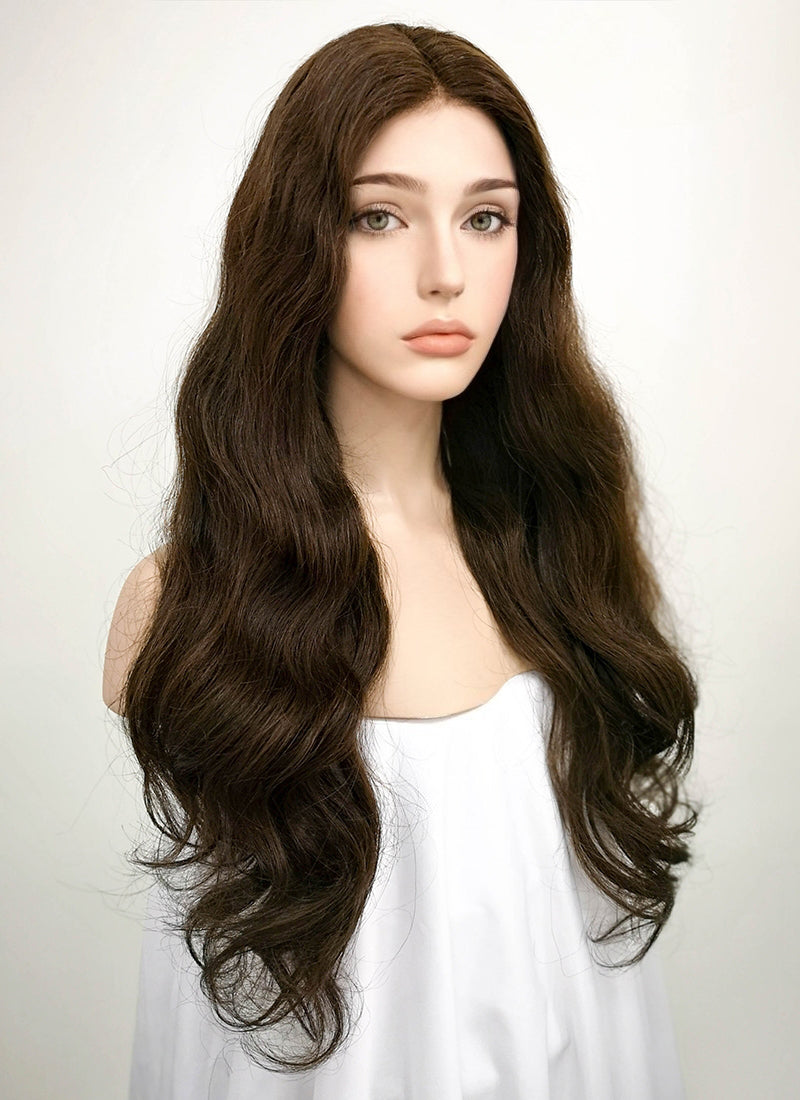 "24"" Long Curly Mocha Brown Lace Front Remy Natural Hair Wig HH050 - wifhair"