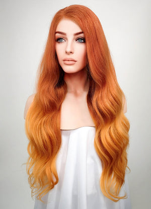 "24"" Long Wavy Two Tone Orange Lace Front Remy Natural Hair Wig HH096 - wifhair"