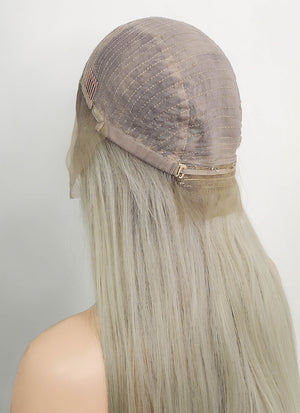 "20"" Long Straight Ash Blonde Lace Front Remy Natural Hair Wig HH103"