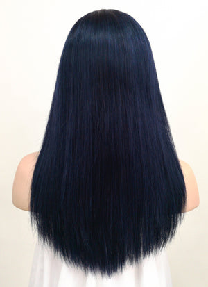 "14"" Long Straight Dark Blue Lace Front Remy Natural Hair Wig HH135 - wifhair"