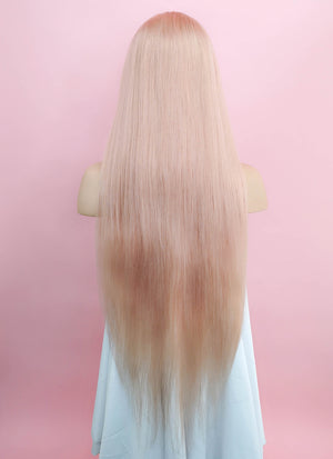 "24"" Long Straight Ash Pink Lace Front Remy Natural Hair Wig HH137 - wifhair"