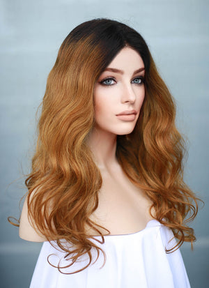 "16"" Long Wavy Blonde With Dark Roots Full Lace Remy Natural Hair Wig HH141 - wifhair"