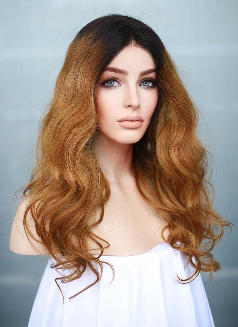 "16"" Long Wavy Blonde With Dark Roots Full Lace Remy Natural Hair Wig HH141"