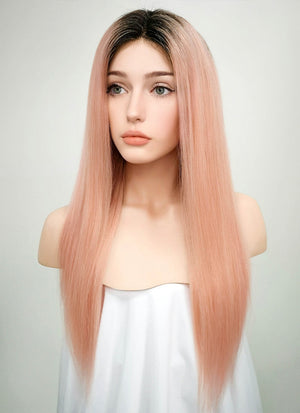 "18"" Long Straight Light Pink With Dark Roots Lace Front Remy Natural Hair Wig HH144 - wifhair"