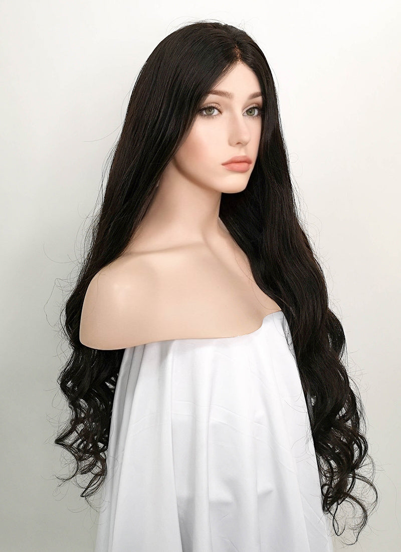 "30"" Long Wavy Black Lace Front Brazilian Natural Hair Wig HH147"