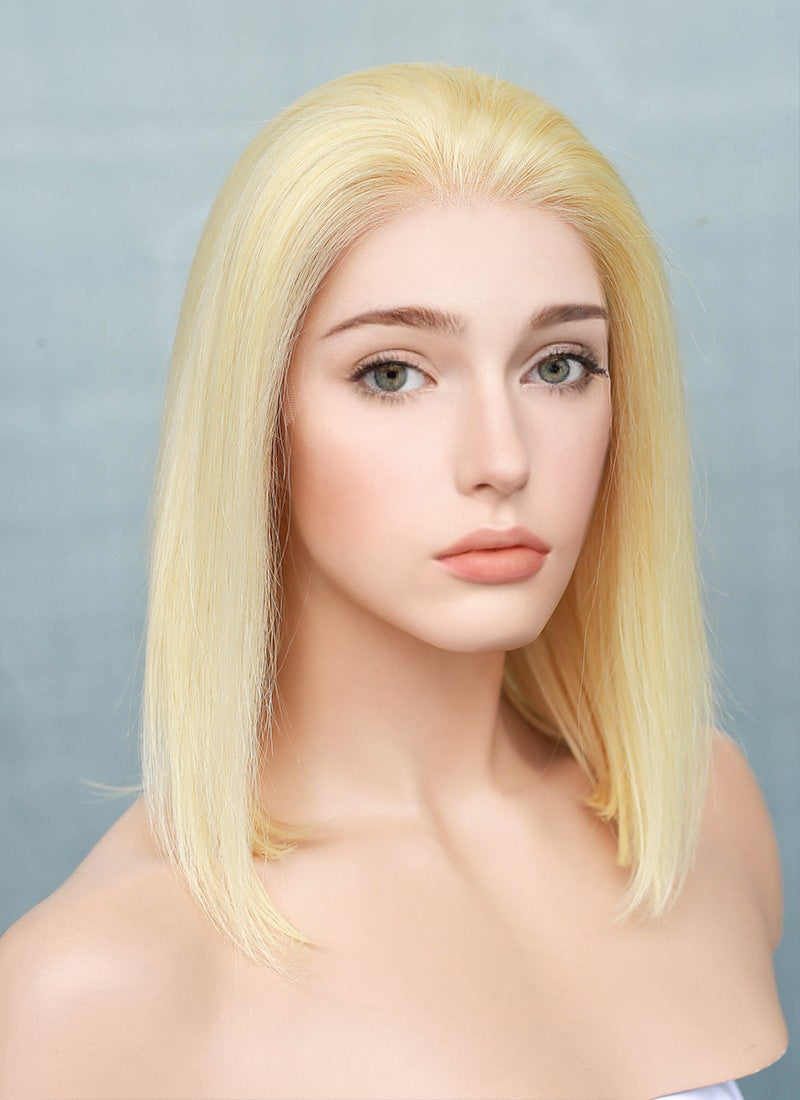 "10"" Medium Straight Bleach Blonde Bob Lace Front Remy Natural Hair Wig HH152"
