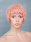 "9"" Short Layer Peach Pink Mono Crown Virgin Natural Hair Wig HH157"