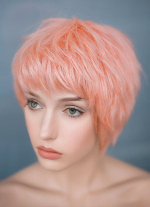 "9"" Short Layer Peach Pink Mono Crown Virgin Natural Hair Wig HH157 - wifhair"