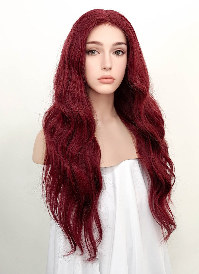 "22"" Long Wavy Burgundy Lace Front Remy Natural Hair Wig HH166"