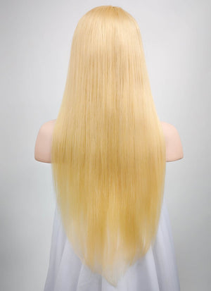 "18"" Long Straight Blonde Lace Front Remy Natural Hair Wig HH168 - wifhair"