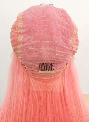 "22"" Long Straight Pink Lace Front Virgin Natural Hair Wig HH170 - wifhair"
