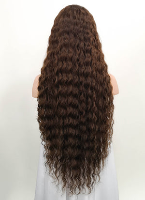 "28"" Long Curly Brown Lace Front Virgin Natural Hair Wig HH172"