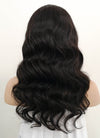 "16"" Long Wavy Black Lace Front Remy Natural Hair Wig HH174"