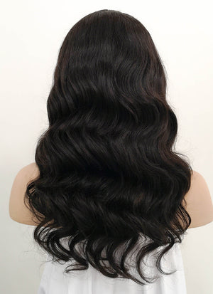 "16"" Long Wavy Black Lace Front Remy Natural Hair Wig HH174 - wifhair"