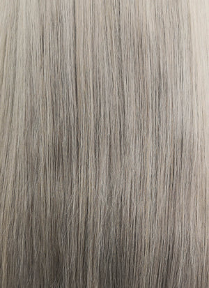 "18"" Long Straight Grey With Brown Roots Lace Front Remy Natural Hair Wig HH175 - wifhair"