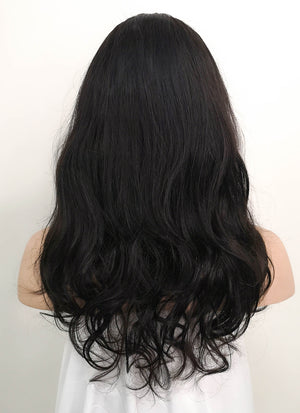 "16"" Medium Wavy Black Lace Front Remy Natural Hair Wig HH176 - wifhair"