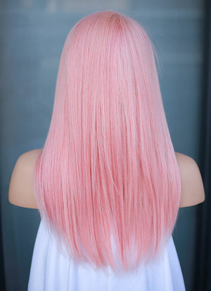"14"" Medium Straight Rose Pink Lace Front Remy Natural Hair Wig HH180 - wifhair"
