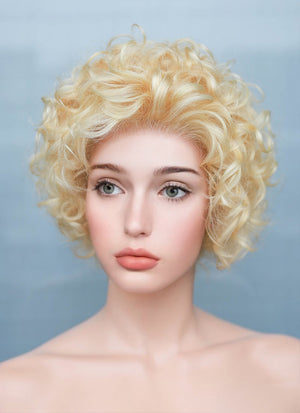 "8"" Short Curly Blonde Bob Lace Front Remy Natural Hair Wig HH182 - wifhair"