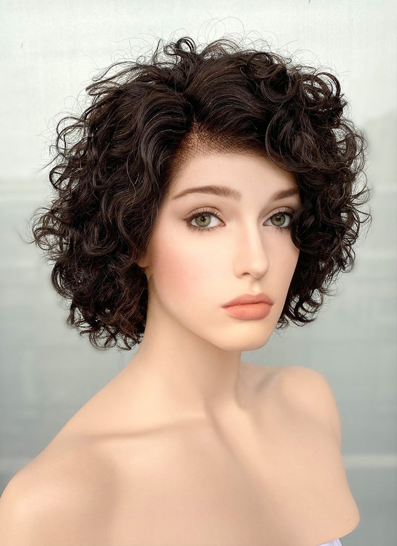 "8"" Short Curly Black Bob Lace Front Remy Natural Hair Wig HH183 - wifhair"