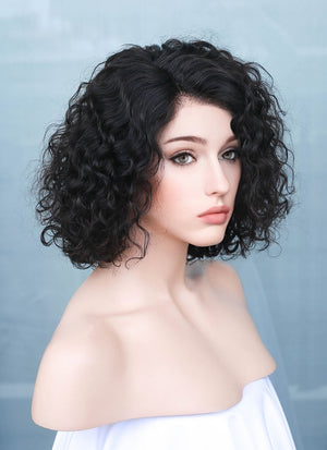"10"" Short Curly Black Bob Lace Front Remy Natural Hair Wig HH184 - wifhair"