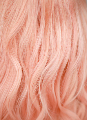 "16"" Medium Wavy Rose Pink Lace Front Remy Natural Hair Wig HH186 - wifhair"