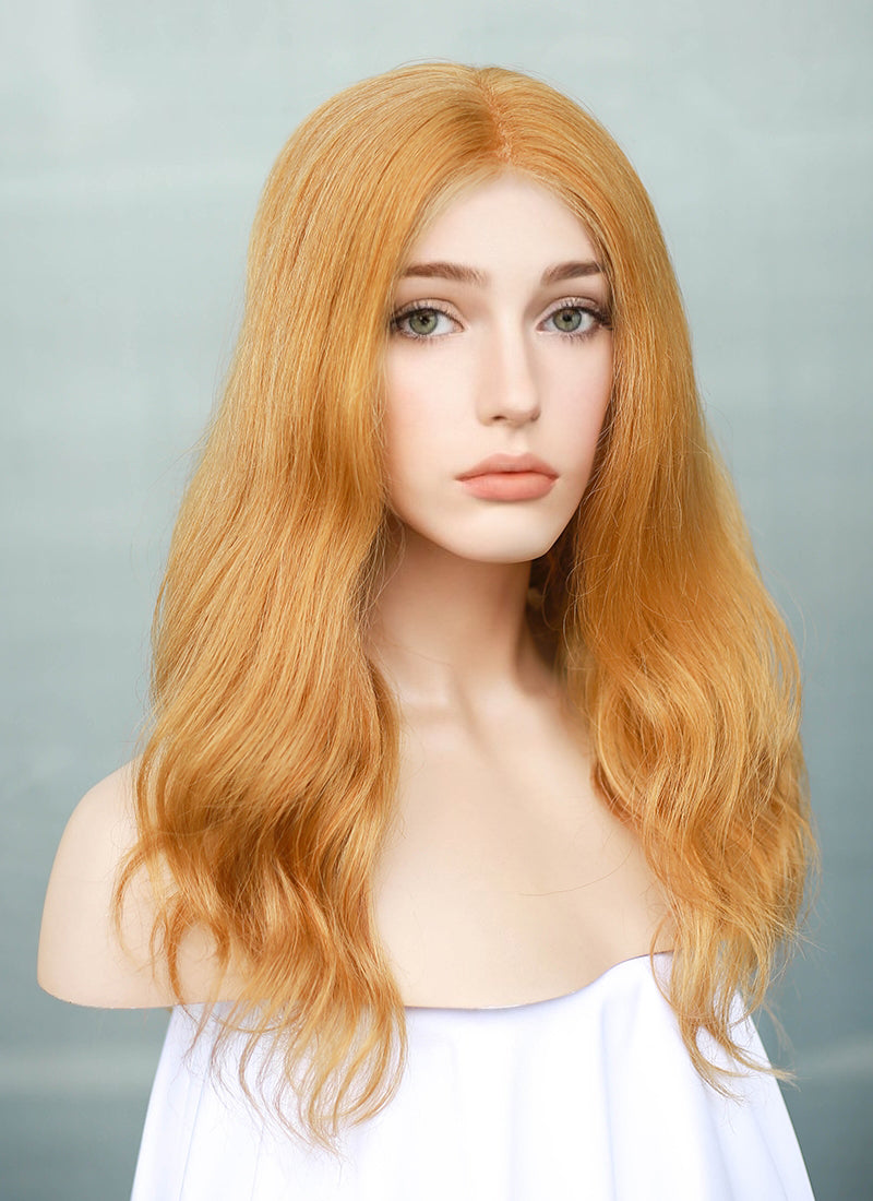 "14"" Medium Wavy Golden Orange Lace Front Remy Natural Hair Wig HH187 - wifhair"