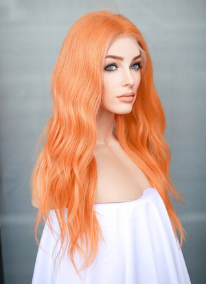 "16"" Medium Wavy Papaya Orange Lace Front Remy Natural Hair Wig HH188 - wifhair"