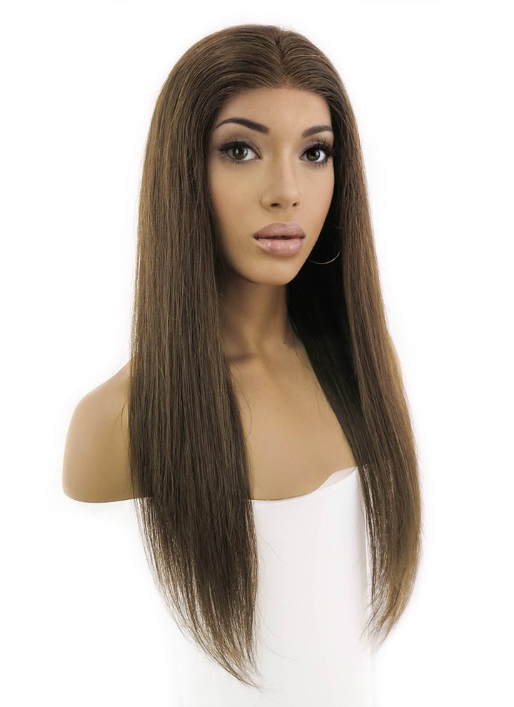 "24"" Long Straight Chocolate Brown Lace Front Remy Natural Hair Wig HH027"