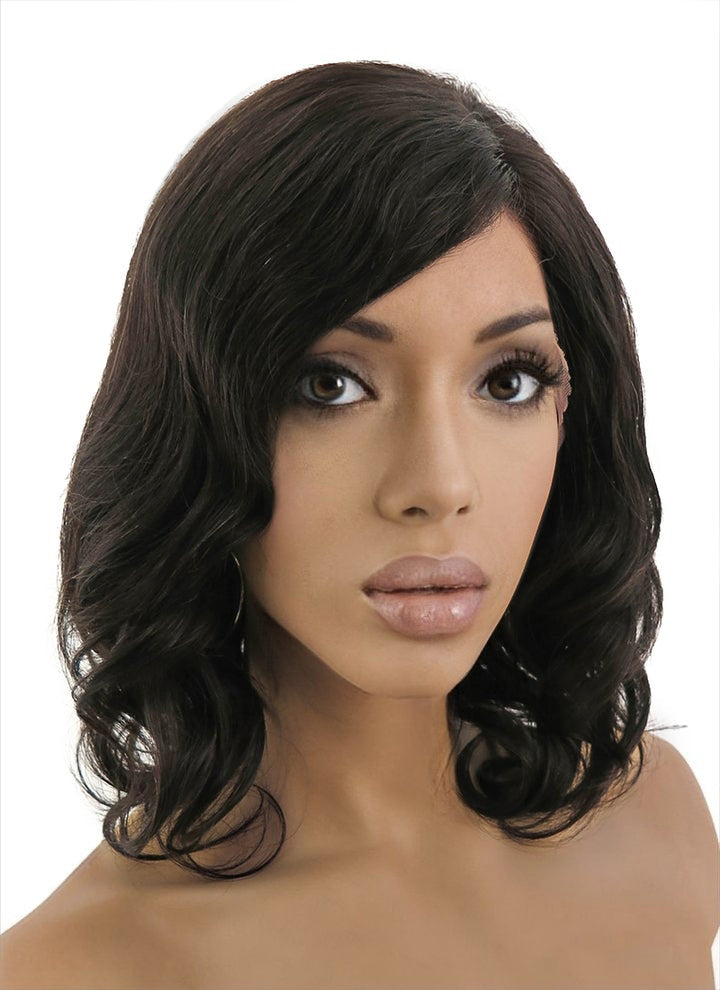 "12"" Medium Curly Bob Off Black Lace Front Remy Natural Hair Wig HH038"