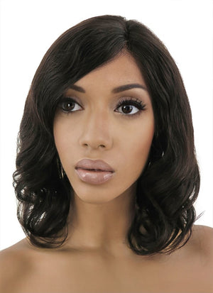 "12"" Medium Curly Bob Off Black Lace Front Remy Natural Hair Wig HH038 - wifhair"