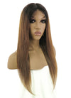 "26"" Long Straight Blonde With Black Roots Lace Front Remy Natural Hair Wig HH040"