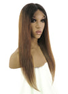 "18"" Long Straight Brown With Dark Roots Lace Front Remy Natural Hair Wig HH055"