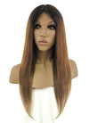 "18"" Long Straight Brown With Dark Roots Lace Front Remy Natural Hair Wig HH055 - wifhair"