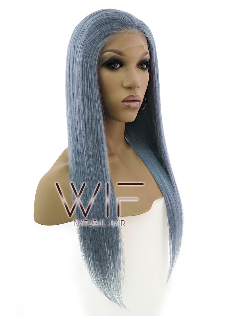 "20"" Long Straight Dark Grey Blue Lace Front Remy Natural Hair Wig HH069 - wifhair"