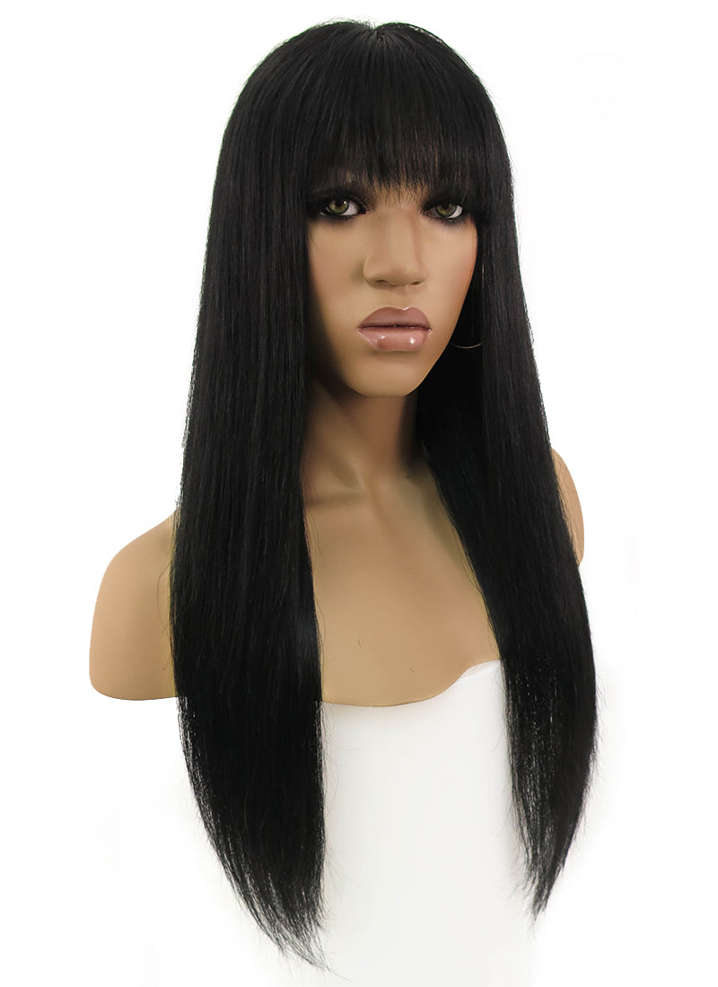 "14"" Long Straight Jet Black Full Lace Remy Natural Hair Wig HH111"