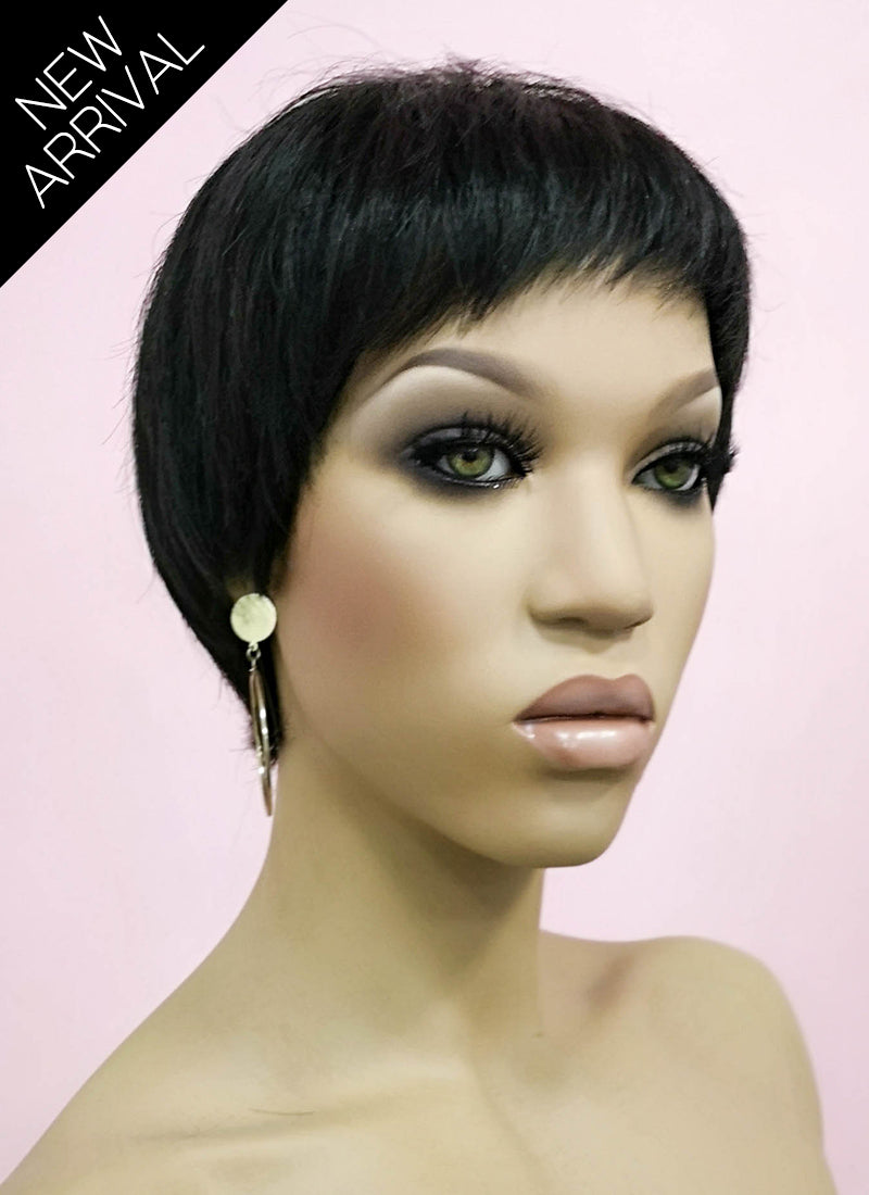 "6"" Short Layer Natural Black Mono Crown Remy Natural Hair Wig HH153 - wifhair"