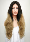 "24"" Long Wavy Black Blonde Ombre Lace Front Remy Natural Hair Wig HHCS001 - wifhair"