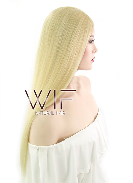 "22"" Long Straight Ash Blonde Lace Front Virgin Human Hair Wig HH030 (FREE SHIPPING) - wifhair"