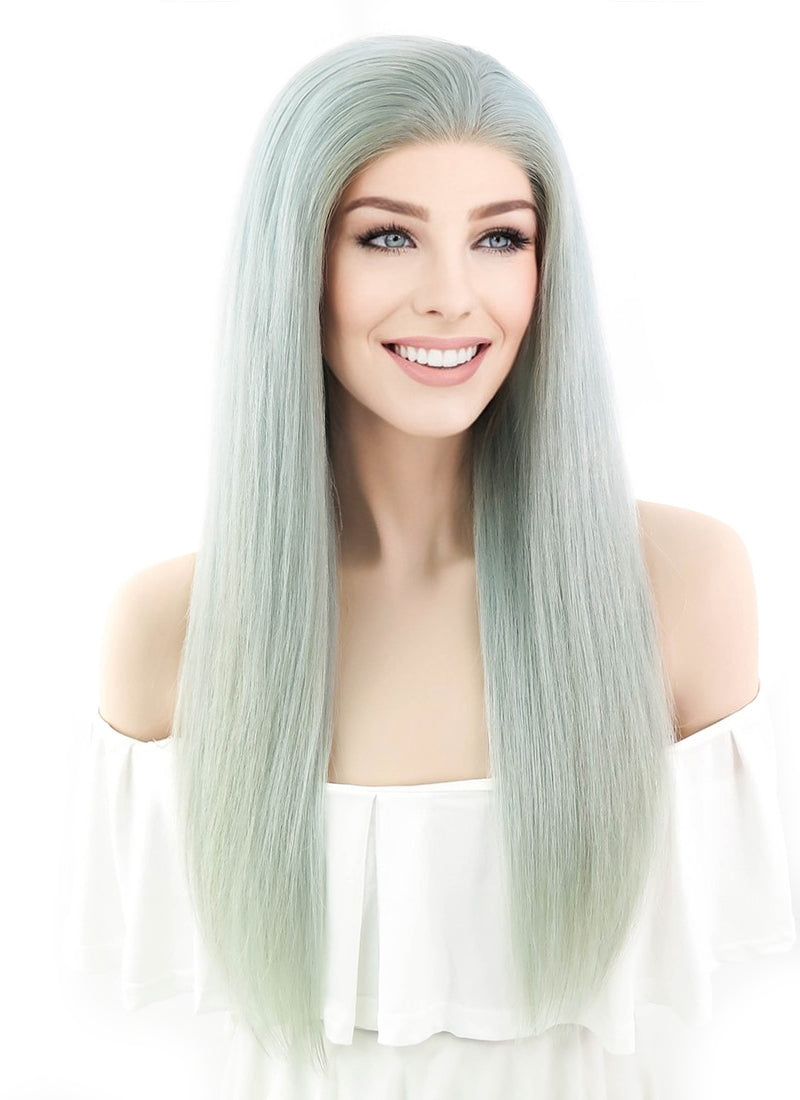 Handmade Large Long Dark Roots Natural Wavy Synthetic Lace ... |Mint Hair Wig