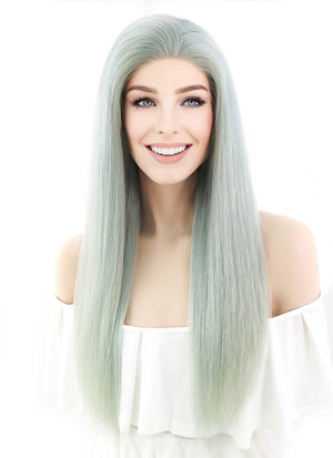 "22"" Long Straight Mint Green Lace Front Remy Natural Hair Wig HH048"
