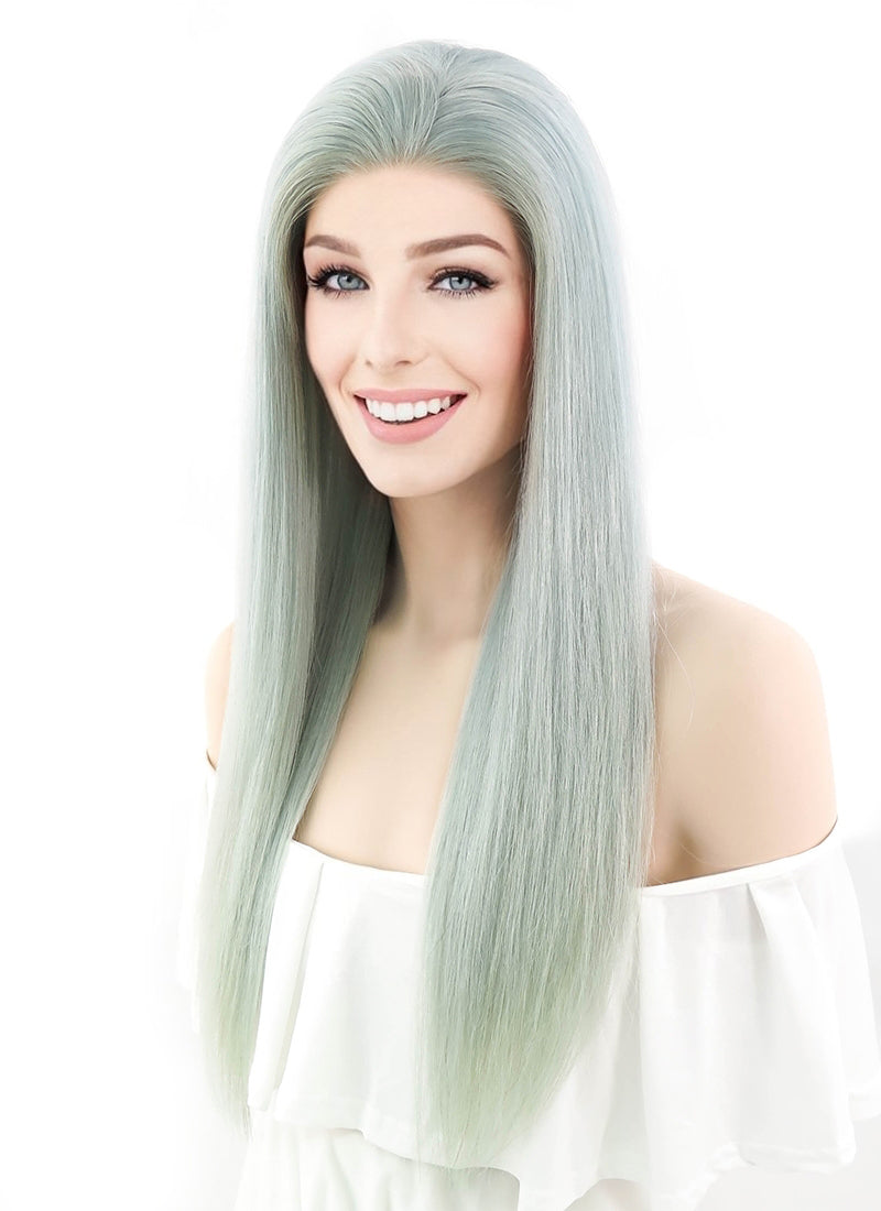 Mint Green Long Straight Lace Front Synthetic Wig SNY098 ... |Mint Hair Wig