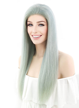 "22"" Long Straight Mint Green Lace Front Remy Natural Hair Wig HH048 - wifhair"