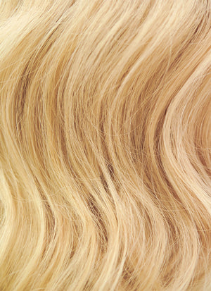 "16"" Long Curly Golden Blonde Lace Front Remy Natural Hair Wig HH049"