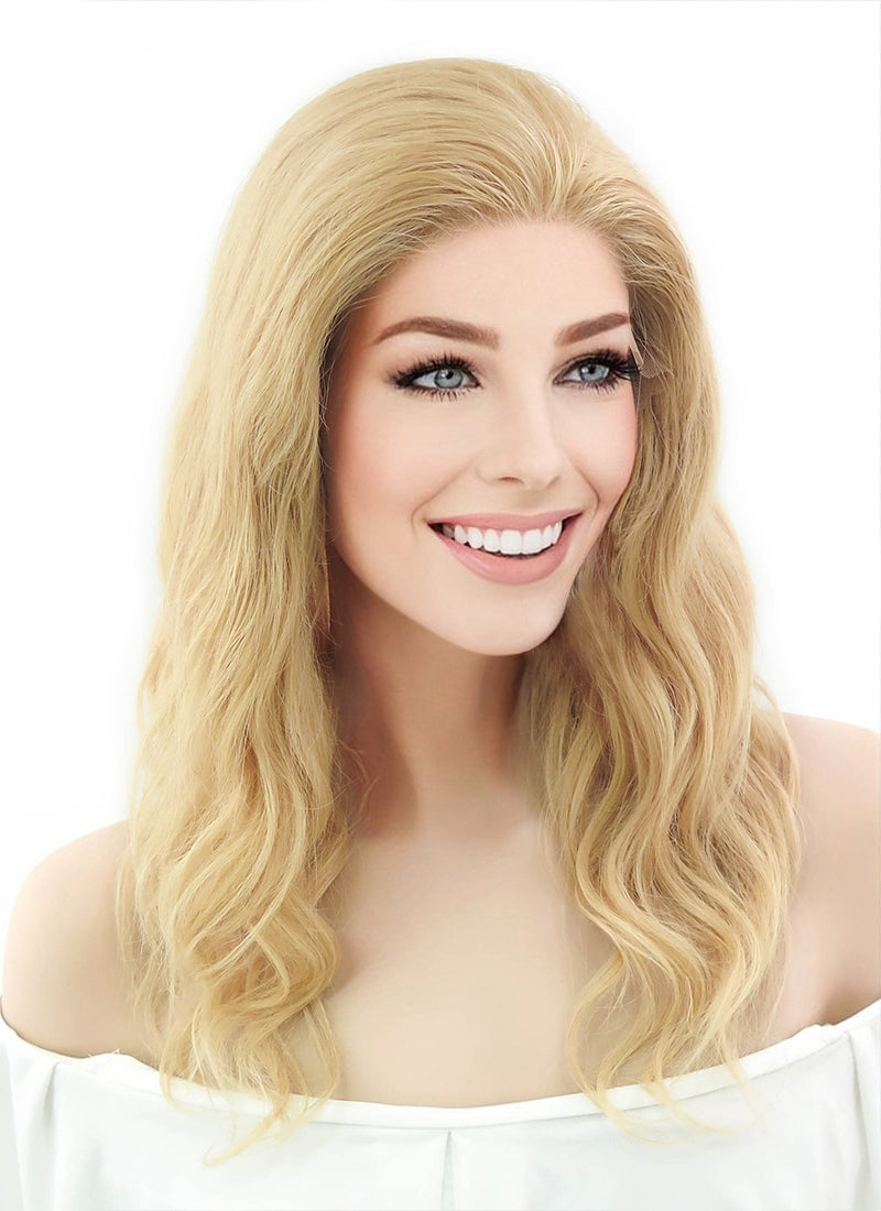 "16"" Medium Curly Golden Blonde Lace Front Remy Natural Hair Wig HH049 - wifhair"